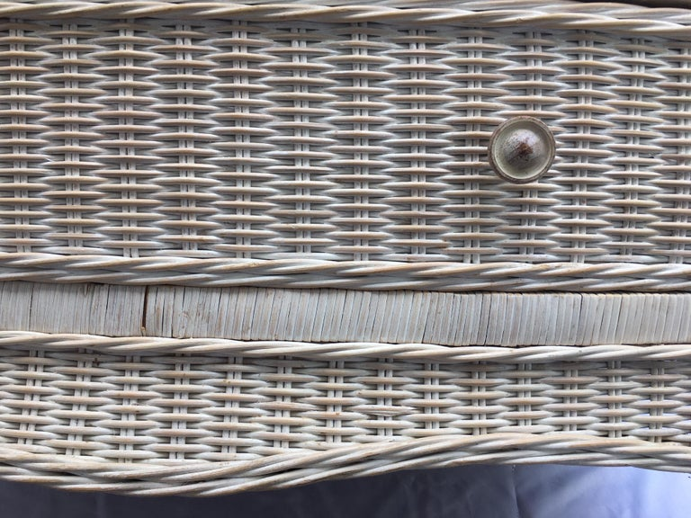 Curved Serpentine Draped Wicker Chest of Drawers For Sale 4