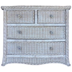 Curved Serpentine Draped Wicker Chest of Drawers