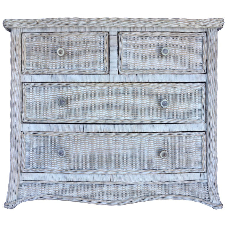 Curved Serpentine Draped Wicker Chest of Drawers For Sale