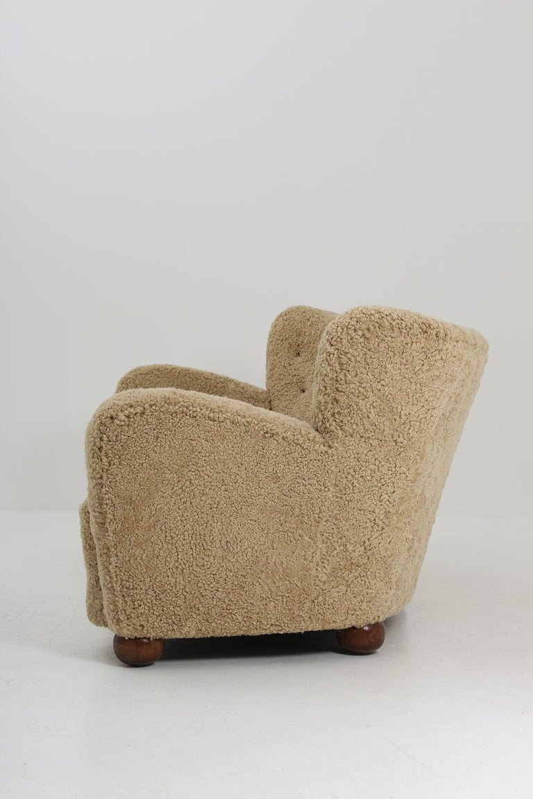 20th Century Curved Sheepskin Sofa 1940s, Sweden For Sale