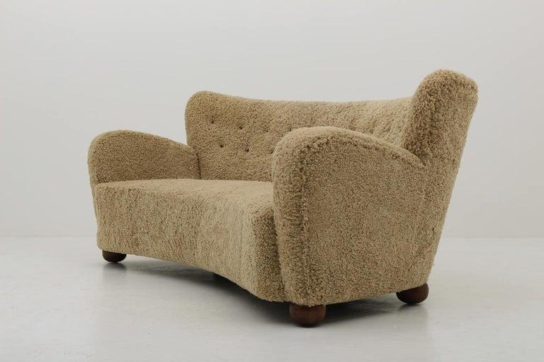 Curved Sheepskin Sofa 1940s, Sweden For Sale 2