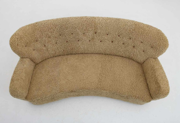 Curved Sheepskin Sofa 1940s, Sweden For Sale 3