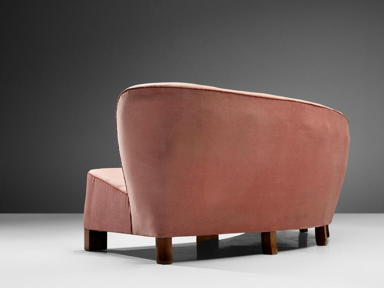 Danish Curved Sofa by Otto Færge in Pink Upholstery For Sale