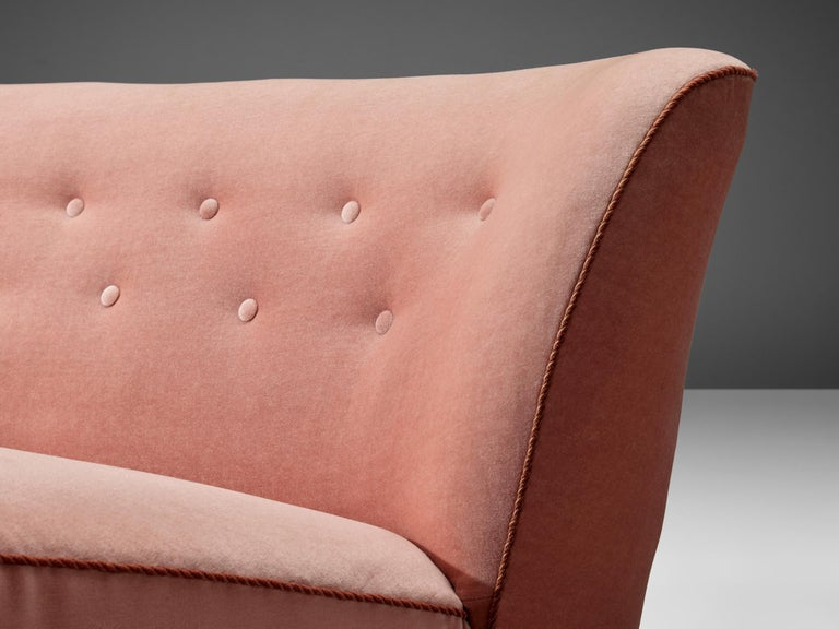 Fabric Curved Sofa by Otto Færge in Pink Upholstery For Sale