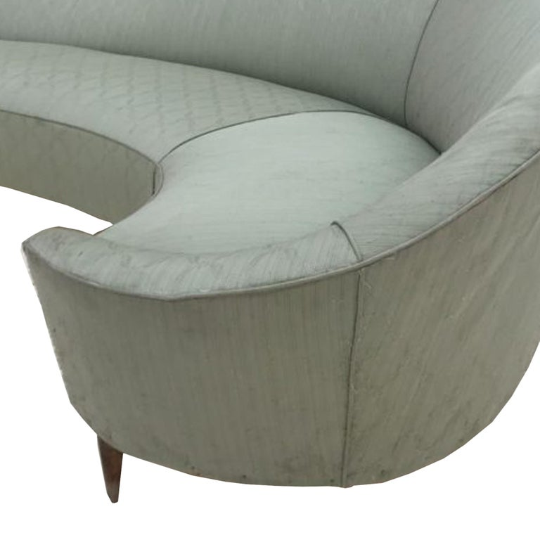 Italian Curved Sofa Design Ico & Luisa Parisi with Structure and Legs in Wood For Sale
