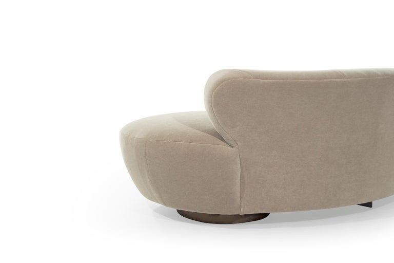 Curved Sofa on Walnut Bases by Vladimir Kagan For Sale 5