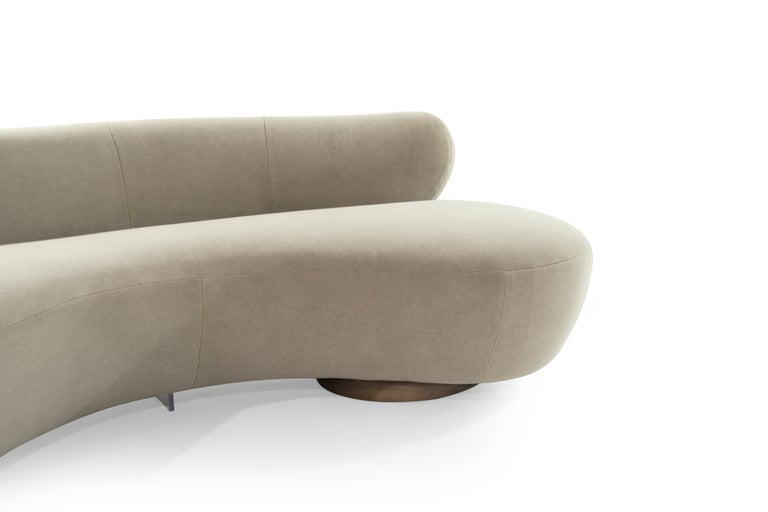 Chenille Curved Sofa on Walnut Bases by Vladimir Kagan For Sale