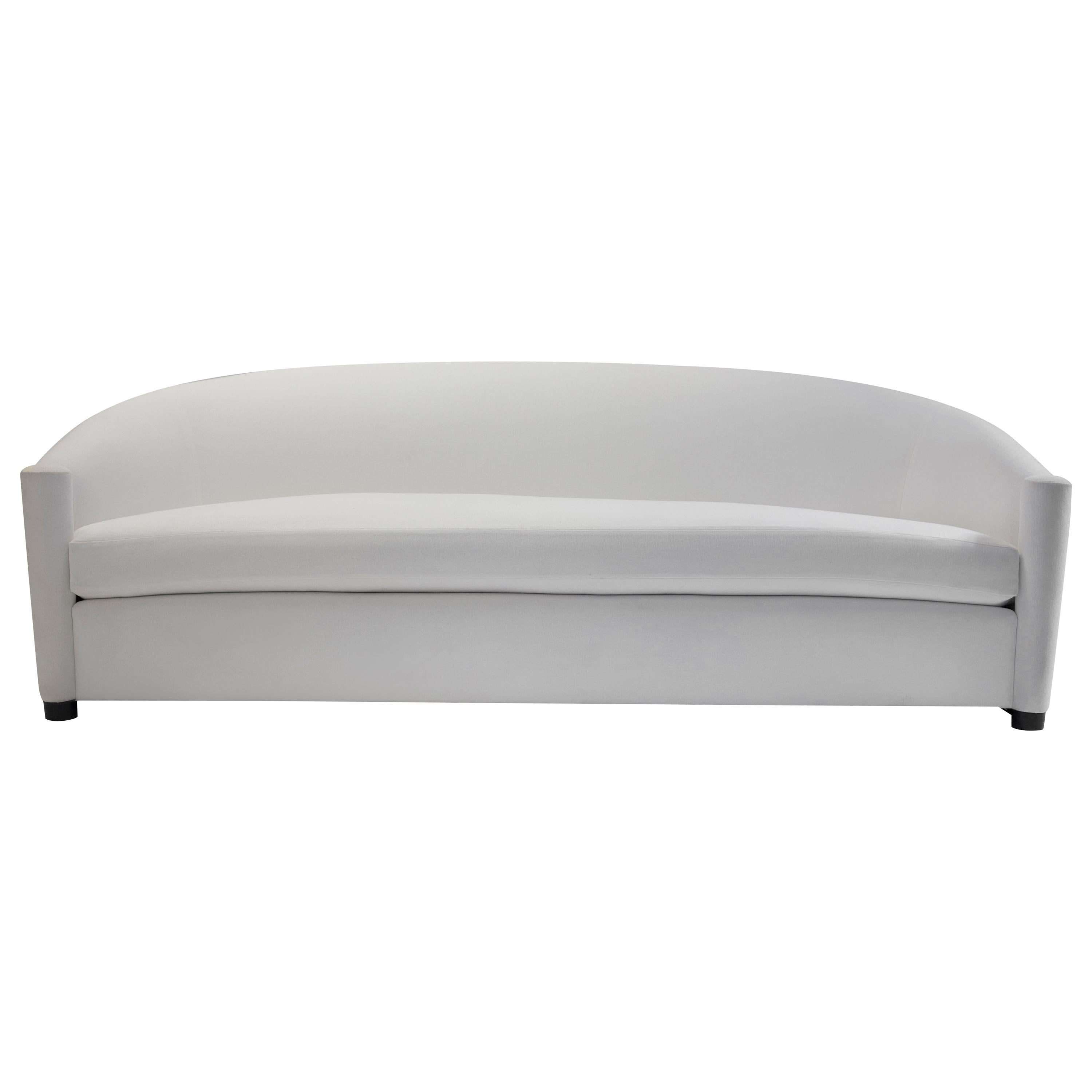 Curved Sofa with Scroll Arms and Loose Seat Cushion with Wrap around Wood Legs