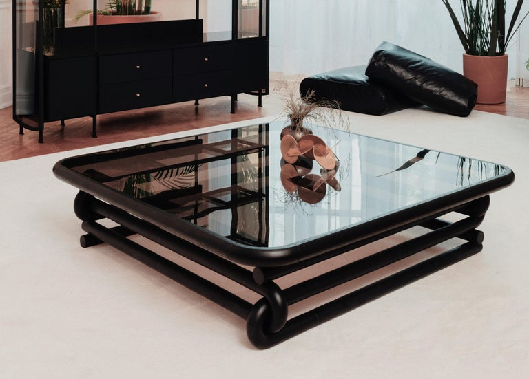 Contemporary Curved Solid Wood Coffee Table with Smoked Bronzed Glass by VIDIVIXI For Sale