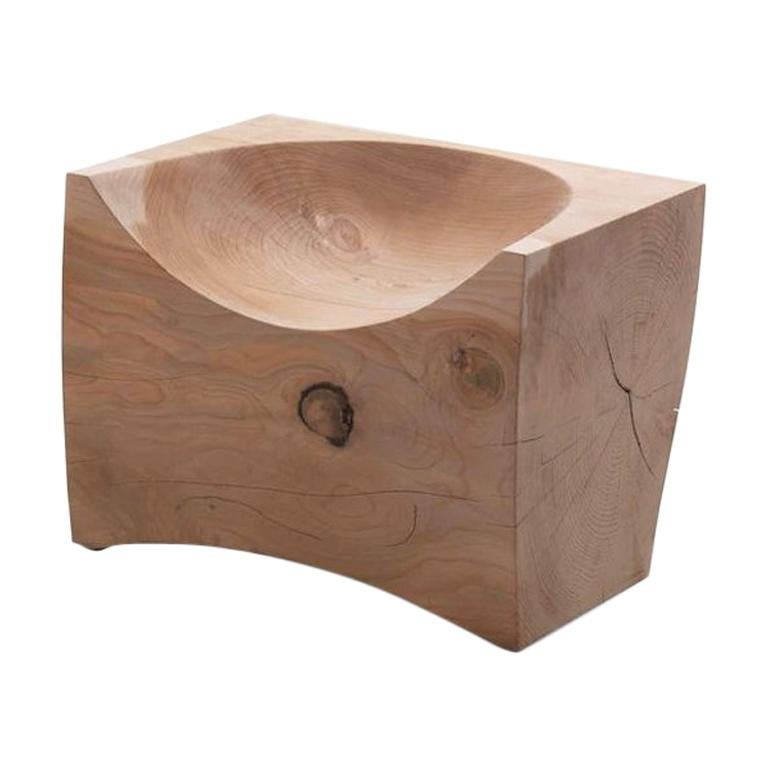 Curved Stool or Chair in Natural Solid Cedar Wood For Sale