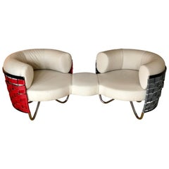 Sale Curved Swiss Design Prototype Beige Round Shape Couch / Sofa
