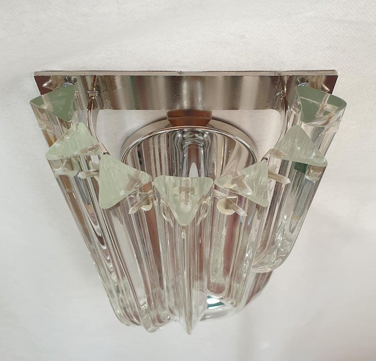 Curved Triedri Clear Murano Glass Sconces, Mid-Century Modern by Venini Italy For Sale 2