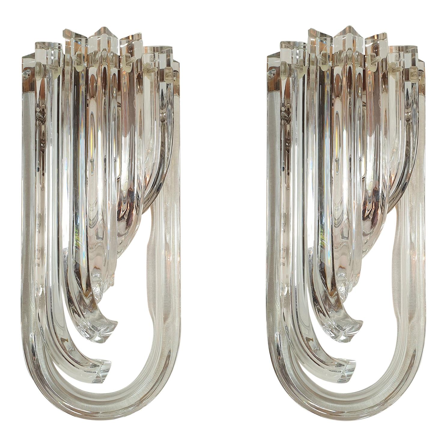 Curved Triedri Clear Murano Glass Sconces, Mid-Century Modern by Venini Italy