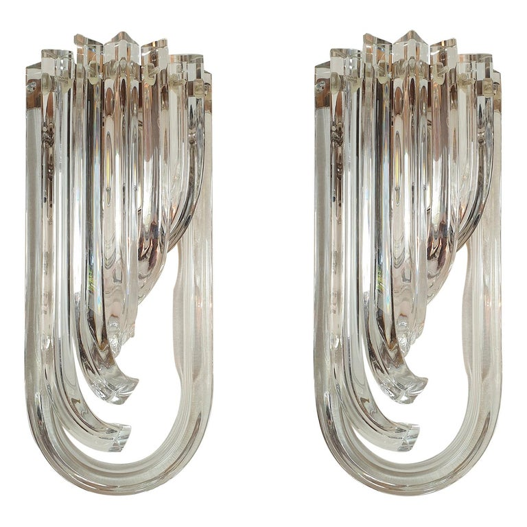 Curved Triedri Clear Murano Glass Sconces, Mid-Century Modern by Venini Italy For Sale