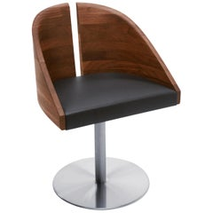 Curved Walnut and Leather Seat, Gala Chair by Riva 1920