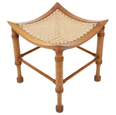 Liberty & Co Thebes  Curved walnut & rope  stool