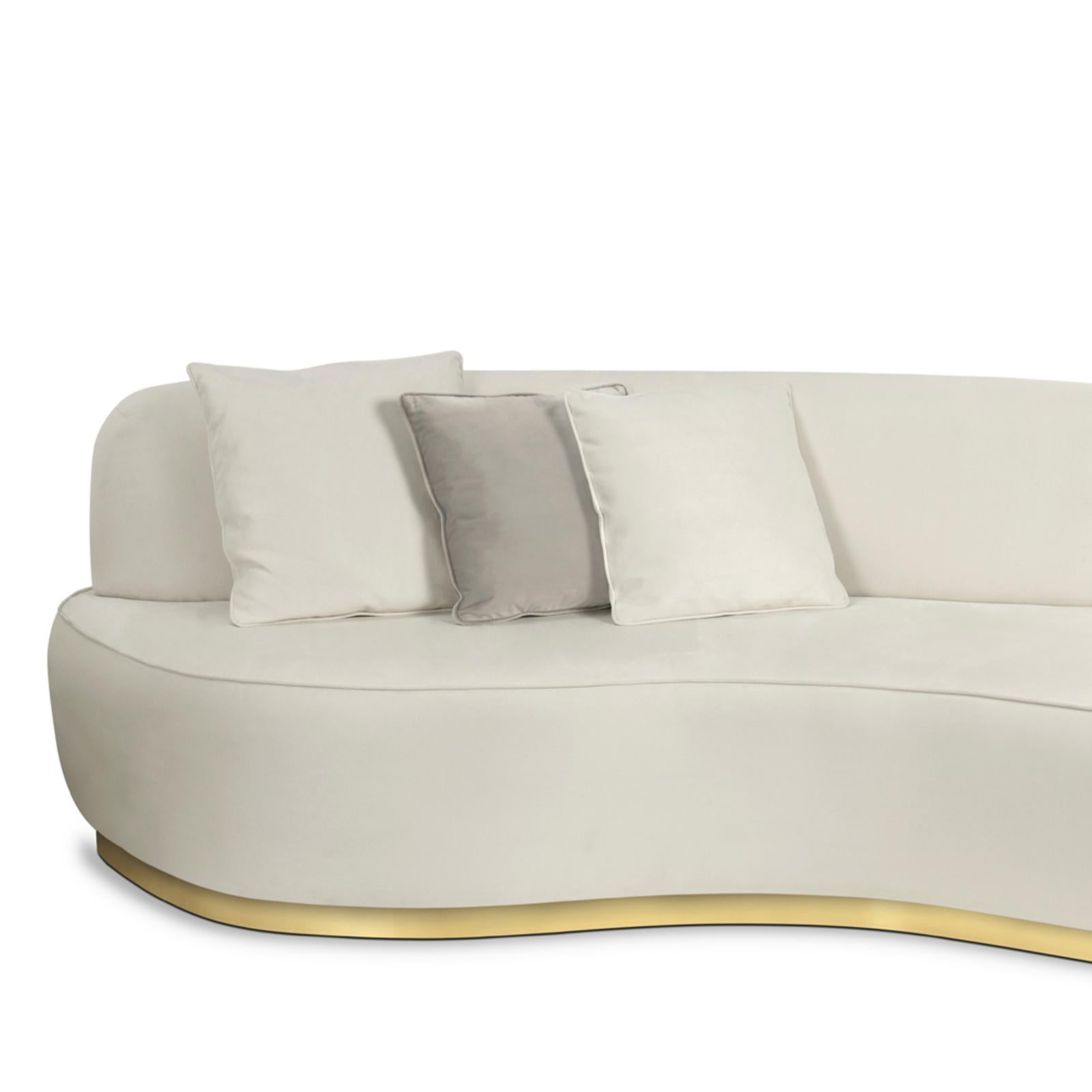 Charmant Curved White Sofa