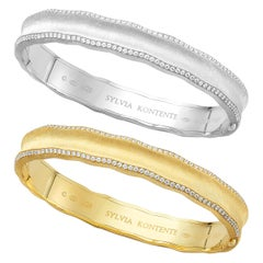 """Curves"" 18 Karat Yellow and White Gold and Diamond Bracelet Set, UQ9YW"