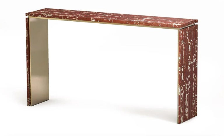 Curves marble console by Marmi Serafini Materials: Marble and brass Dimensions: 180 x 40 H 90 cm  Other marbles available.  Console with soft and sophisticated lines embellished by the undulating side surfaces leaving the horizontal part