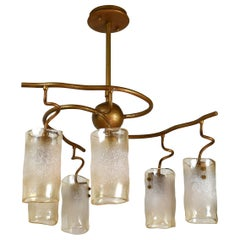 Curvilinear Mid-Century Modern 6-Light Chandelier
