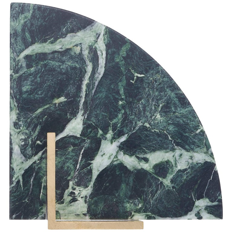 Curvy Bookend in Verde Marble For Sale