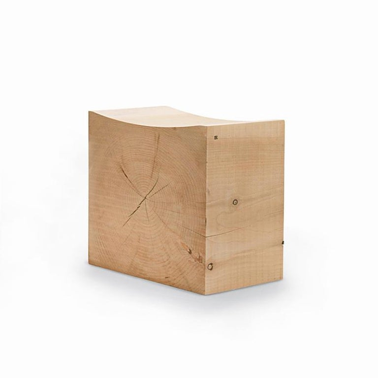 Stool curvy cedar made in a block of natural cedar trunk.  With concave seat. Treated with wax with natural pine extracts. Solid cedar wood include movement,  cracks and changes in wood conditions,  this is the essential characteristic of natural