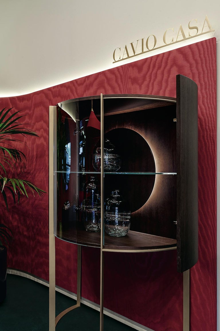 Hand-Crafted Curvy Display Cabinet For Sale
