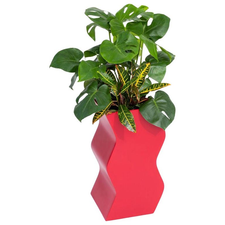 Curvy Planter by Pieces, Red Fiberglass Planters For Sale