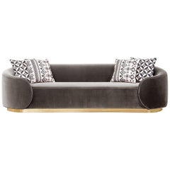Curvy Wrap-Round Eden Rock Sofa with Velvet Upholstery with Polished Brass Base