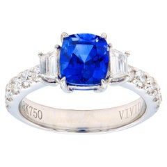 Cushion 2.18 Sapphire Ring with Diamond Trapezoids with a Diamond Band