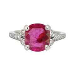 Cushion 3.02ct Ruby and Diamond Platinum Ring