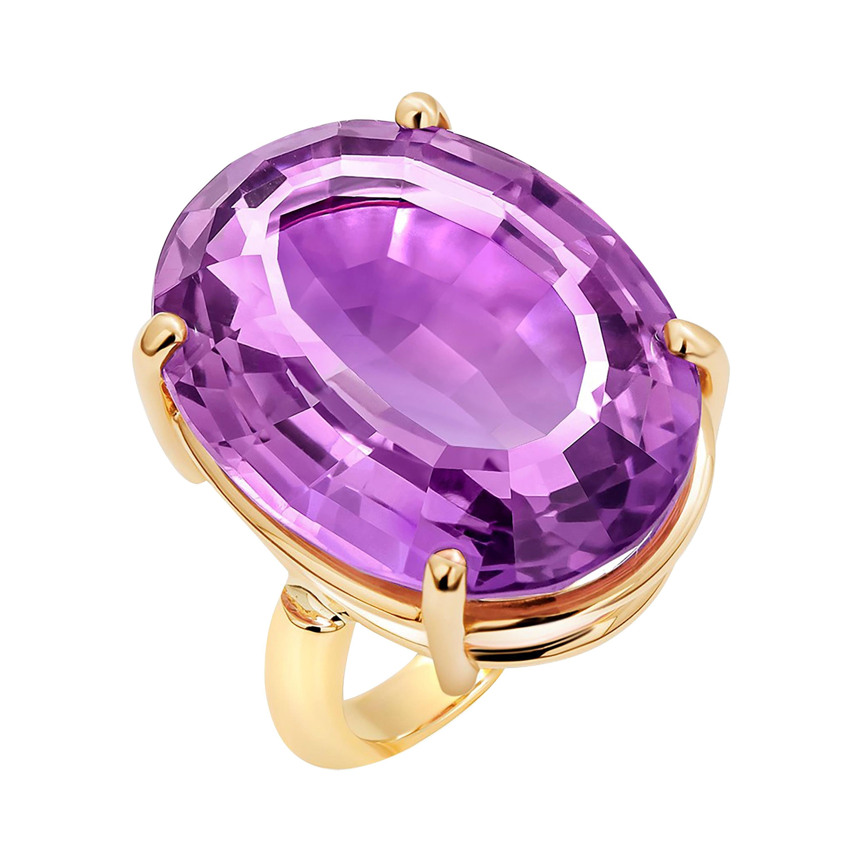 Cushion Amethyst 23.91 Carats Raised Dome Yellow Gold Cocktail Ring