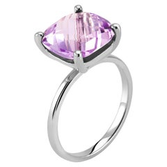 Cushion Amethyst Solitaire Sterling Silver Ring