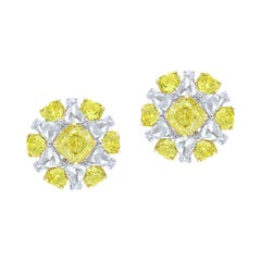 Cushion and Heart Floral Earring, 7.30ct