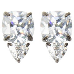 Cushion and Trillion Cut Faux Diamond Statement Earrings