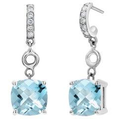 Cushion Aquamarine and Diamond White Gold Hoop Drop Earrings
