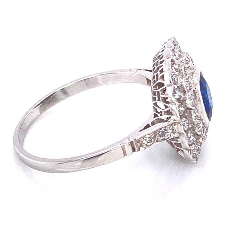 Cushion Cut Cushion Blue Sapphire Diamond Art Deco Style Platinum Ring Fine Estate Jewelry For Sale