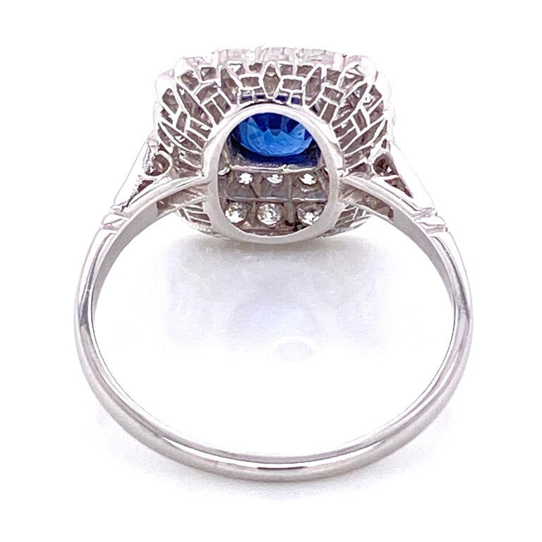 Cushion Blue Sapphire Diamond Art Deco Style Platinum Ring Fine Estate Jewelry In Excellent Condition For Sale In Montreal, QC