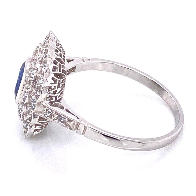 Women's Cushion Blue Sapphire Diamond Art Deco Style Platinum Ring Fine Estate Jewelry For Sale