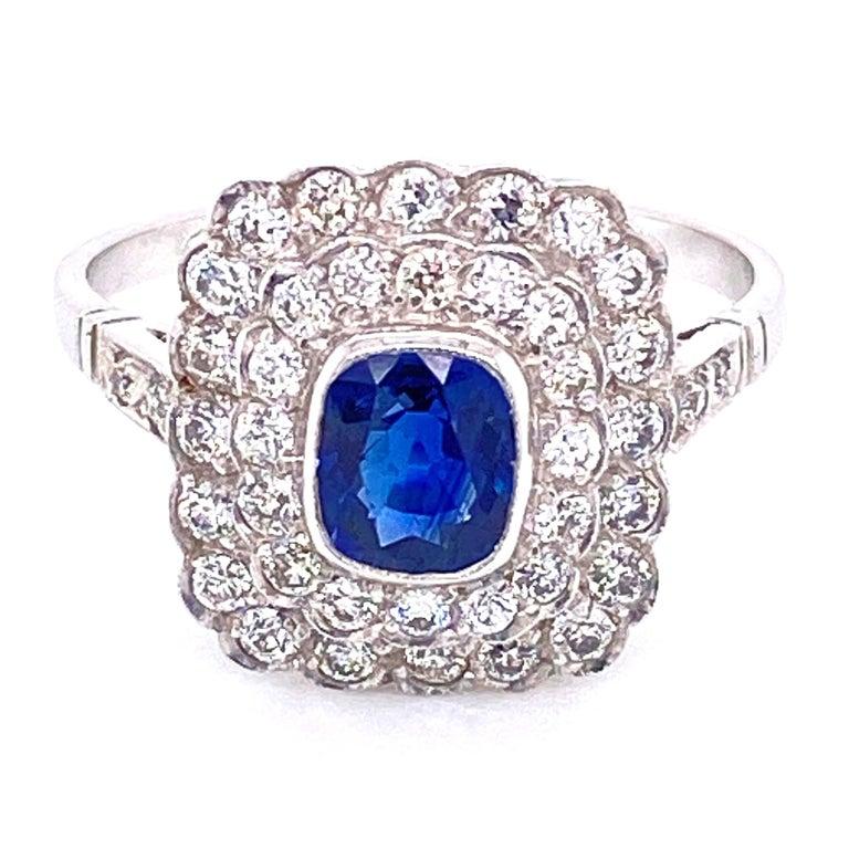 Cushion Blue Sapphire Diamond Art Deco Style Platinum Ring Fine Estate Jewelry For Sale 2