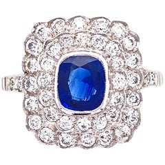 Cushion Blue Sapphire Diamond Art Deco Style Platinum Ring Fine Estate Jewelry