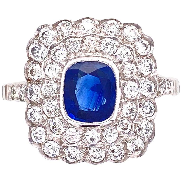 Cushion Blue Sapphire Diamond Art Deco Style Platinum Ring Fine Estate Jewelry For Sale