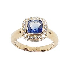 Cushion Blue Sapphire with Diamond Ring Set in 18 Karat Rose Gold Settings