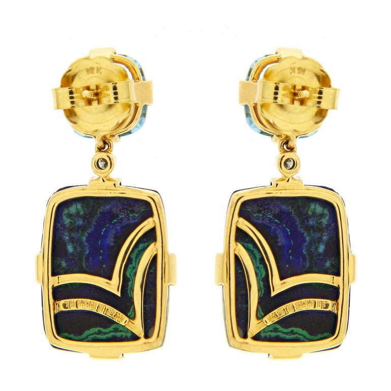Cushion Blue Topaz and Rectangle Azurite Malachite Earrings In New Condition For Sale In New York, NY