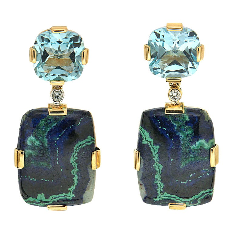 Cushion Blue Topaz and Rectangle Azurite Malachite Earrings For Sale