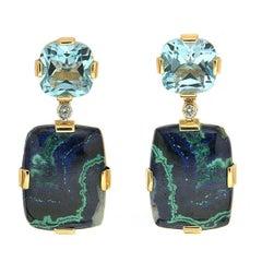 Cushion Blue Topaz and Rectangle Azurite Malachite Earrings