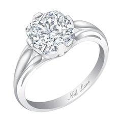 Neil Lane Couture Cushion Brilliant-Cut Diamond, Platinum Ring
