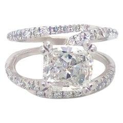 Cushion Brilliant Diamond Engagement Ring 2.40 Ctw Center 2.05 Ct. F, VS1 GIA
