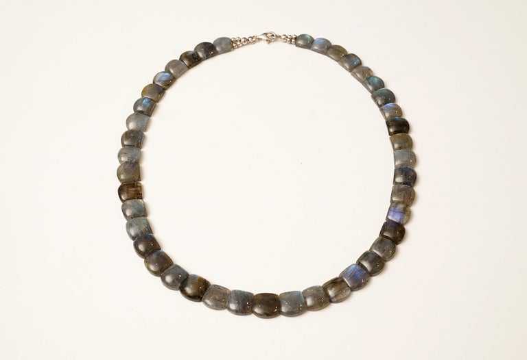 Cushion Cabochon Labradorite Choker Necklace For Sale 1