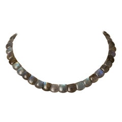 Cushion Cabochon Labradorite Choker Necklace